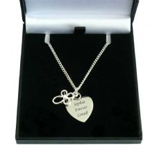 Engraved Heart with Open Cross Necklace